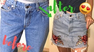 DIY Embroidered Jean Skirt