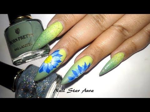 Simple Floral Nail Art Over New Temperature Control Nail Polish By Born Pretty  Nail Star Aura
