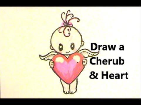 Easy! Cute Valentine! Draw a Cherub with a Heart! - YouTube