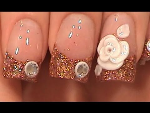 Acrylic Nails Tutorial Copper Tips With White Flower