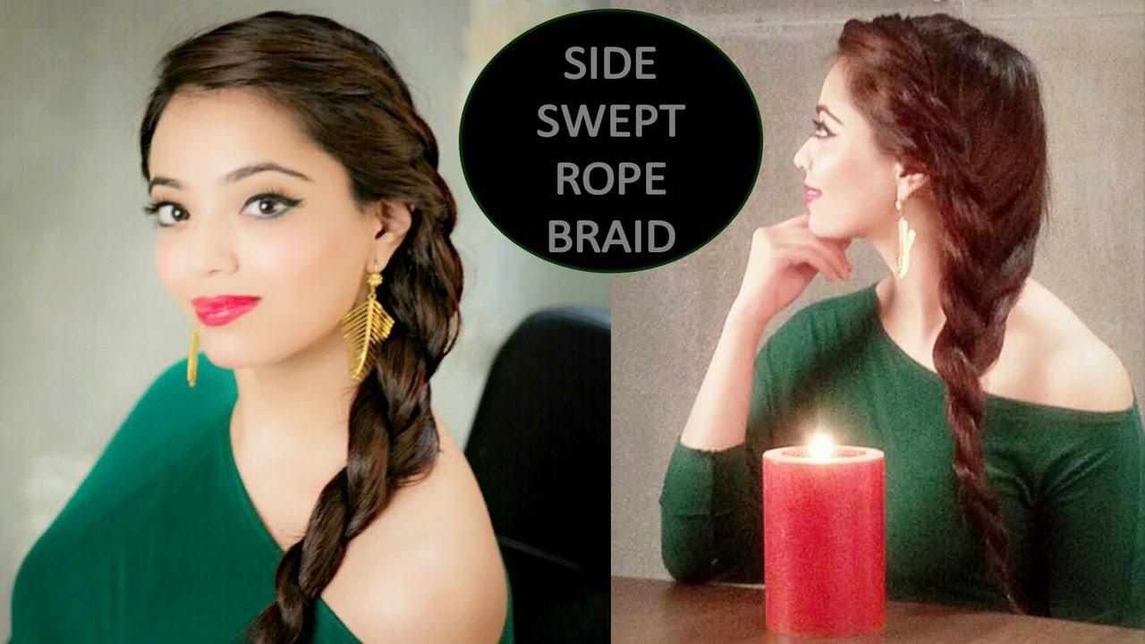 side swept rope braid tutorial (hindi) - youtube