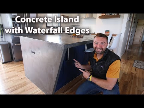 DIY Concrete Counter Island with Waterfall Edges - ( Concrete Overlay )
