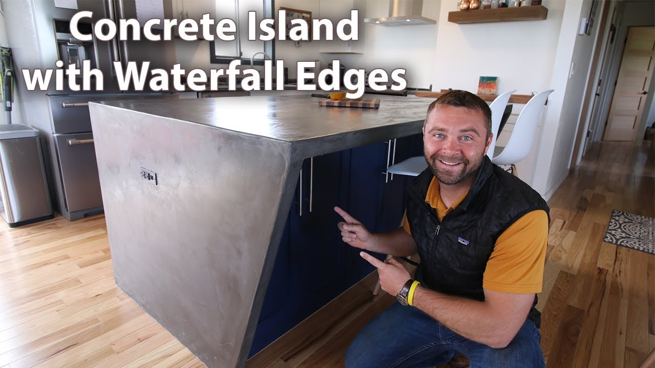 Diy Concrete Counter Island With Waterfall Edges