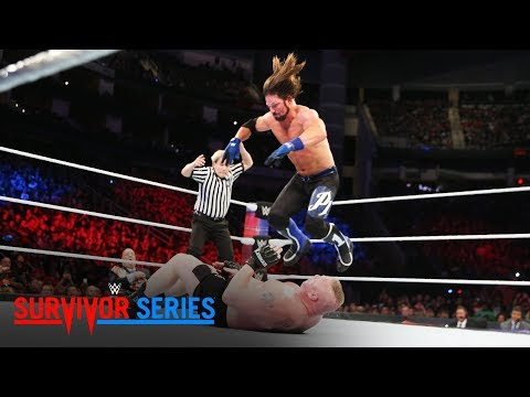 Thumbnail: AJ Styles nails Brock Lesnar with a 450 Splash: Survivor Series 2017 (WWE Network Exclusive)