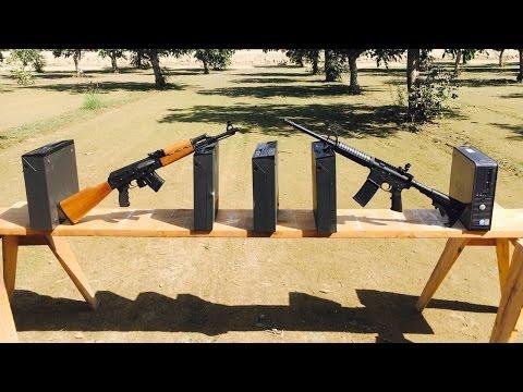 AR-15 VS AK-47 VS PC - 5.56 VS 7.62