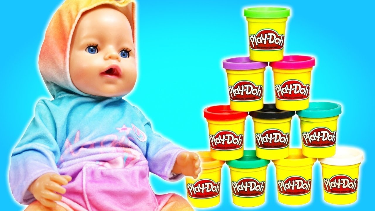 Baby Annabell doll & Play-Doh ice cream! Cooking toy food for baby born dolls for girls.