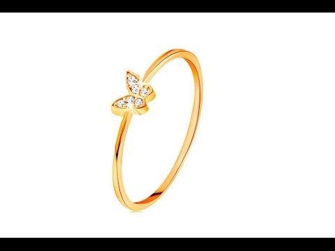 Bijuterii Inel Aur Fluture Decorat Zirconii Rotunde Eshop Ro