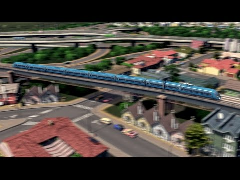 Cities: Skylines - First Person Regional Express Rail Train System Ride