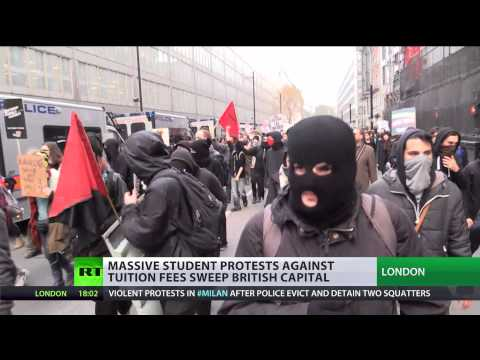 'Books not Bombs': Students march against tuition fees & cuts in London