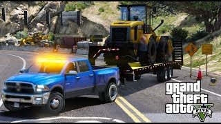 GTA 5 REAL LIFE MOD 15 DODGE RAM 3500 DUAL REAR WHEELS HAULING A FRONT LOADER TO A CONSTRUCTION SITE