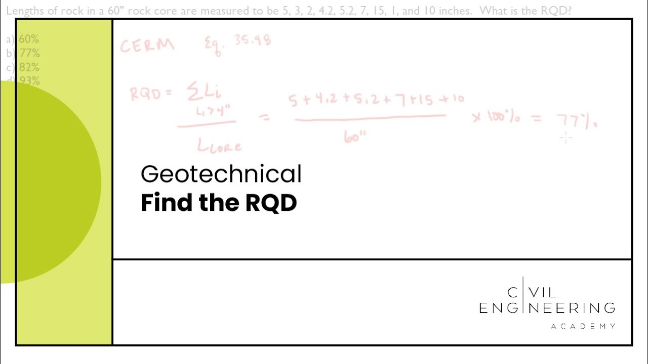 Civil PE Exam - Geotech - Find the RQD