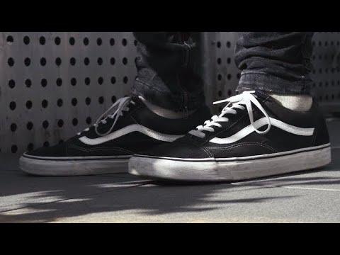 Vans Old Skool Black On Feet | 4k - YouTube