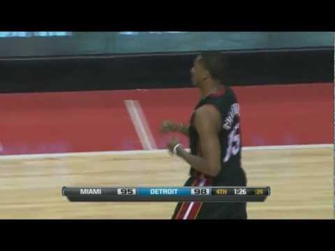 Mario Chalmers hammer dunk vs Detroit Pistons, 25/01/2012 (Didn