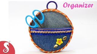 DIY Organizer from Old Jeans & Waste CDs | Best out of Waste | Sonali