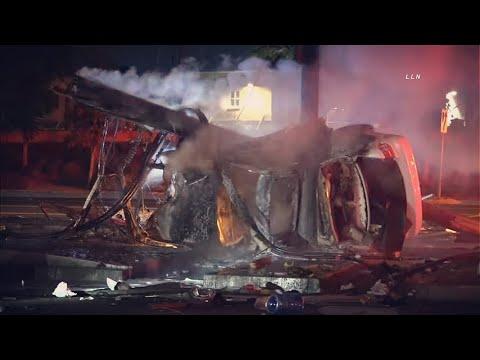 LLN Randy Arrives To Fully Engulfed Crash | POMONA, CA   9.15.21