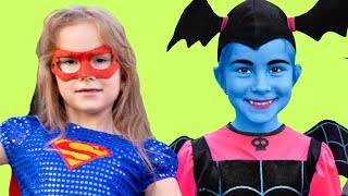 Kids Pretend play Superheroes Super Girl Vampirina Capitain America Stories for kids