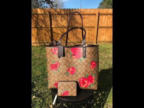 COACH SIGNATURE JUMBO FLORAL REVERSIBLE TOTE