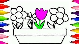 How to Draw and Color | Flowers in a pot Coloring Book for Kids Fun Art Learning Colored Markers