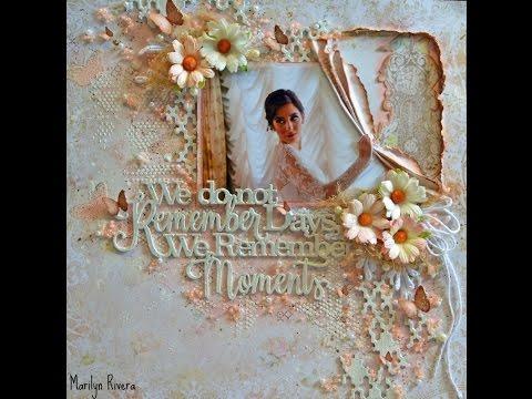 Wedding -Shabby Chic/Mixed Media Scrapbooking Layout