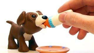 Feeding doggie 💕Superhero Play Doh Stop motion cartoons