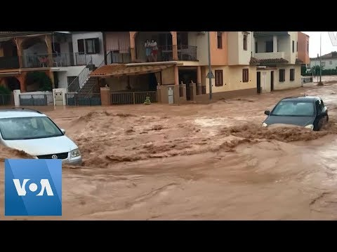 Cars Swept Away by Heavy Floods in Spanish Town of Los Alcazares