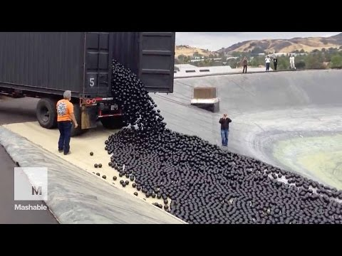 LA throws 96 million 'shade balls' at its water shortage — and it's mesmerizing | Mashable