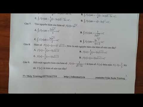 Nguyên hàm của hàm số chứa căn thức