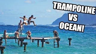 SUPER TRAMPOLINE TRICKS OVER THE OCEAN!!
