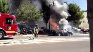 Fire Department Puts Out Car Fire in Downtown Visalia CA 08/13/13