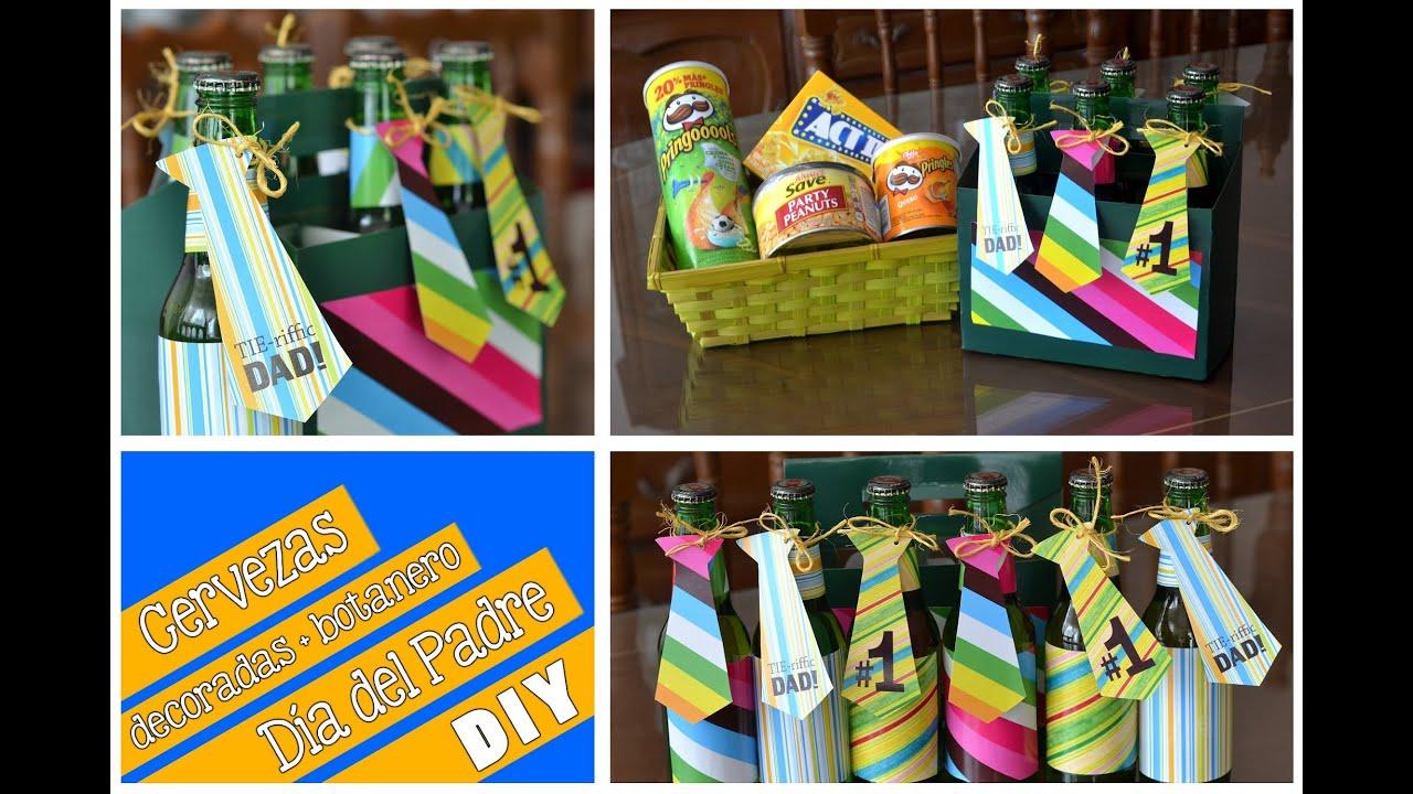 Cervezas decoradas y botanero diy d a del padre youtube for Decoracion x el dia del padre