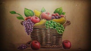 Dibujo - Cesta con frutas.