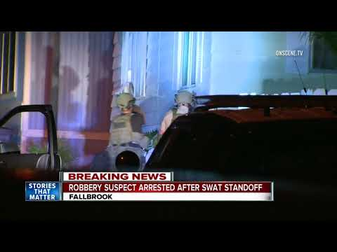 Burglary suspect barricades himself in Fallbrook mobile home