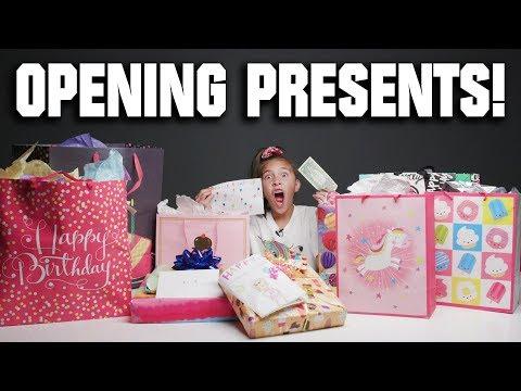 OPENING MY BIRTHDAY PRESENTS!!! Dad Steals My Gummy Bears!