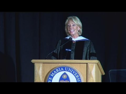Betsy DeVos gives commencement speech at Ave Maria