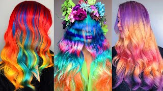 Top Hair Cutting & Rainbow Hair Color Transformation   Amazing Professional Hairstyles Compilation