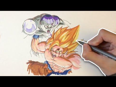 Dragon Ball: Drawing Goku vs Frieza - YouTube