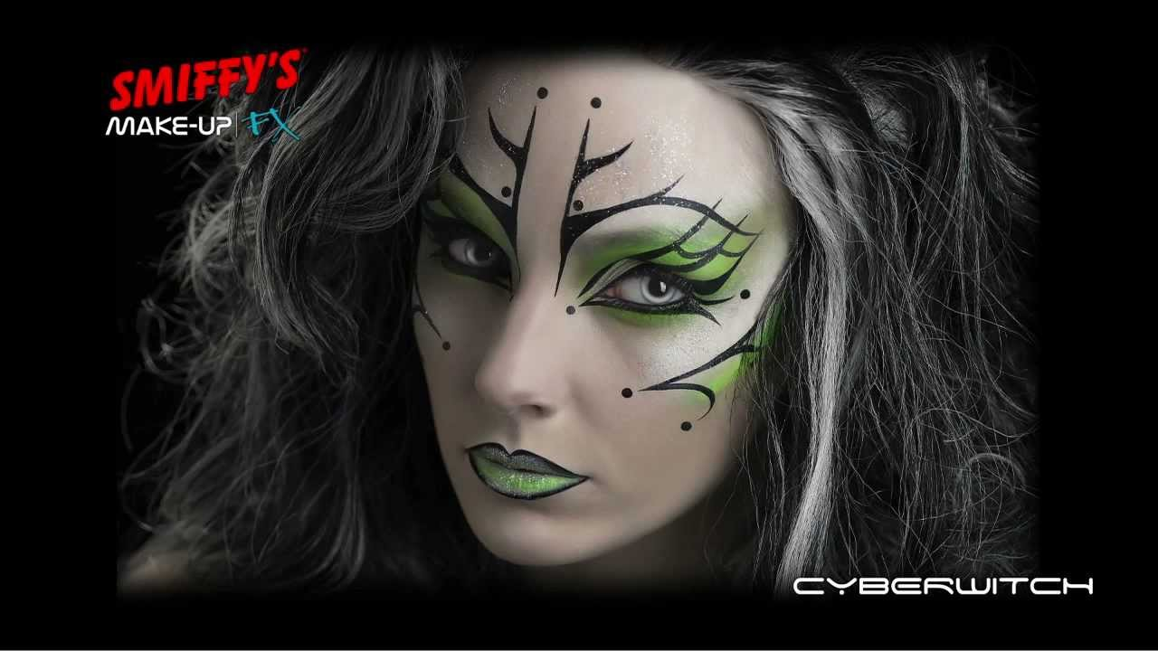 cyber witch face painting halloween make-up tutorial - youtube