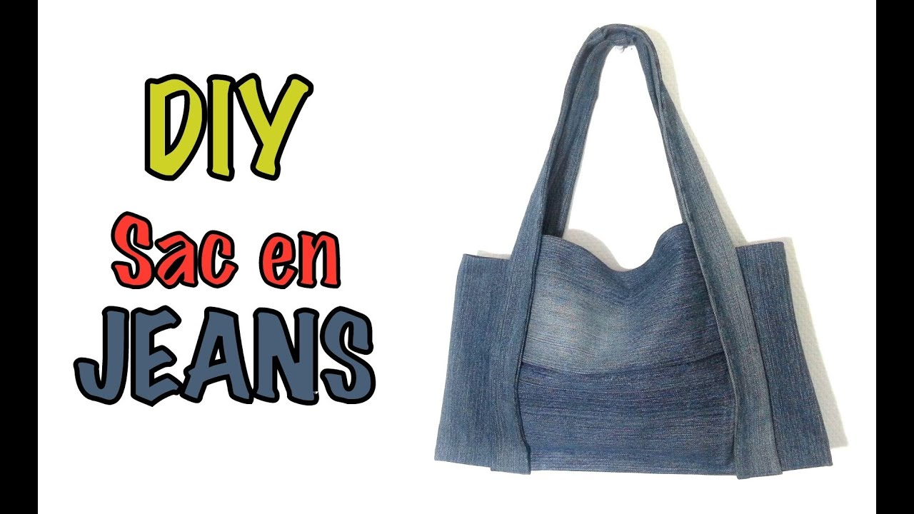 diy mode sac main avec un vieux jeans youtube. Black Bedroom Furniture Sets. Home Design Ideas
