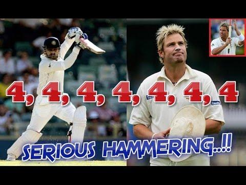 Sehwag vs Shane Warne : 4,4,4,4,4,4,4   Sehwag gives Warne a SERIOUS HAMMERING...SENSATIONAL STUFF!!