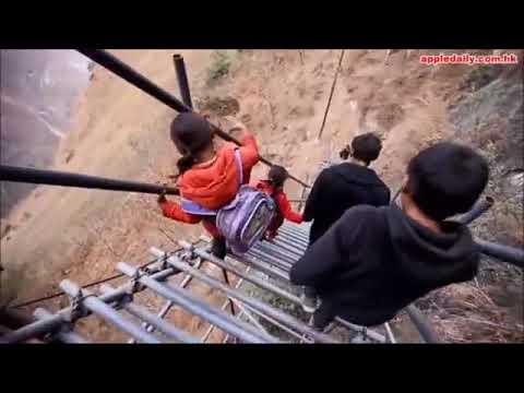 【直撃】四川懸崖村2556級天梯 終於改用鋼管搭建而成   台灣蘋果日報