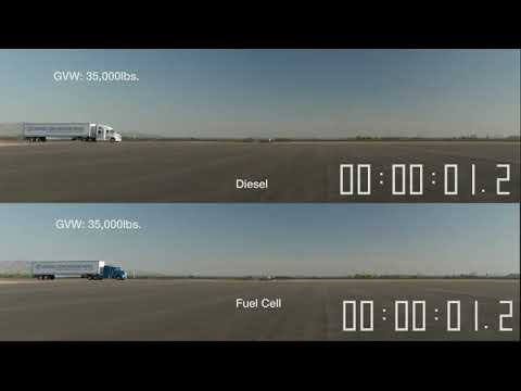Toyota hydrogen fuel cell truck vs. Diesel engine truck acceleration