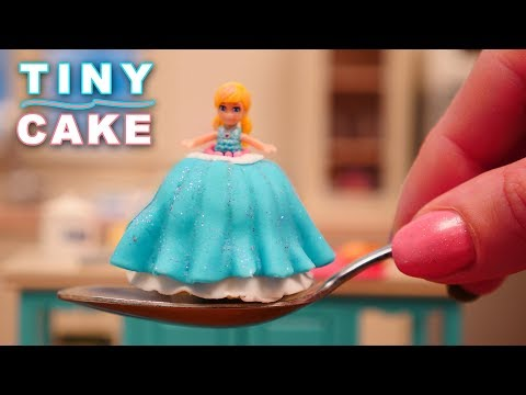 Teeny Weeny Challenge Miniature Princess Doll Cake | How Small Can I Bake? Ann Reardon