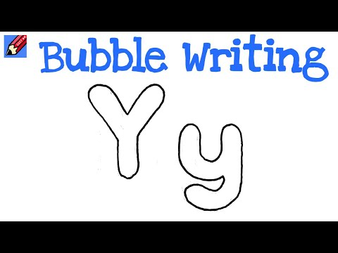 How to Draw Bubble Writing Real Easy Letter Y