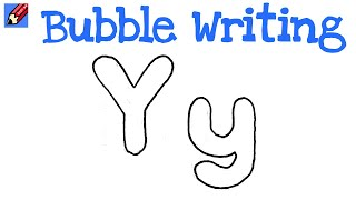 How to Draw Bubble Writing Real Easy - Letter Y