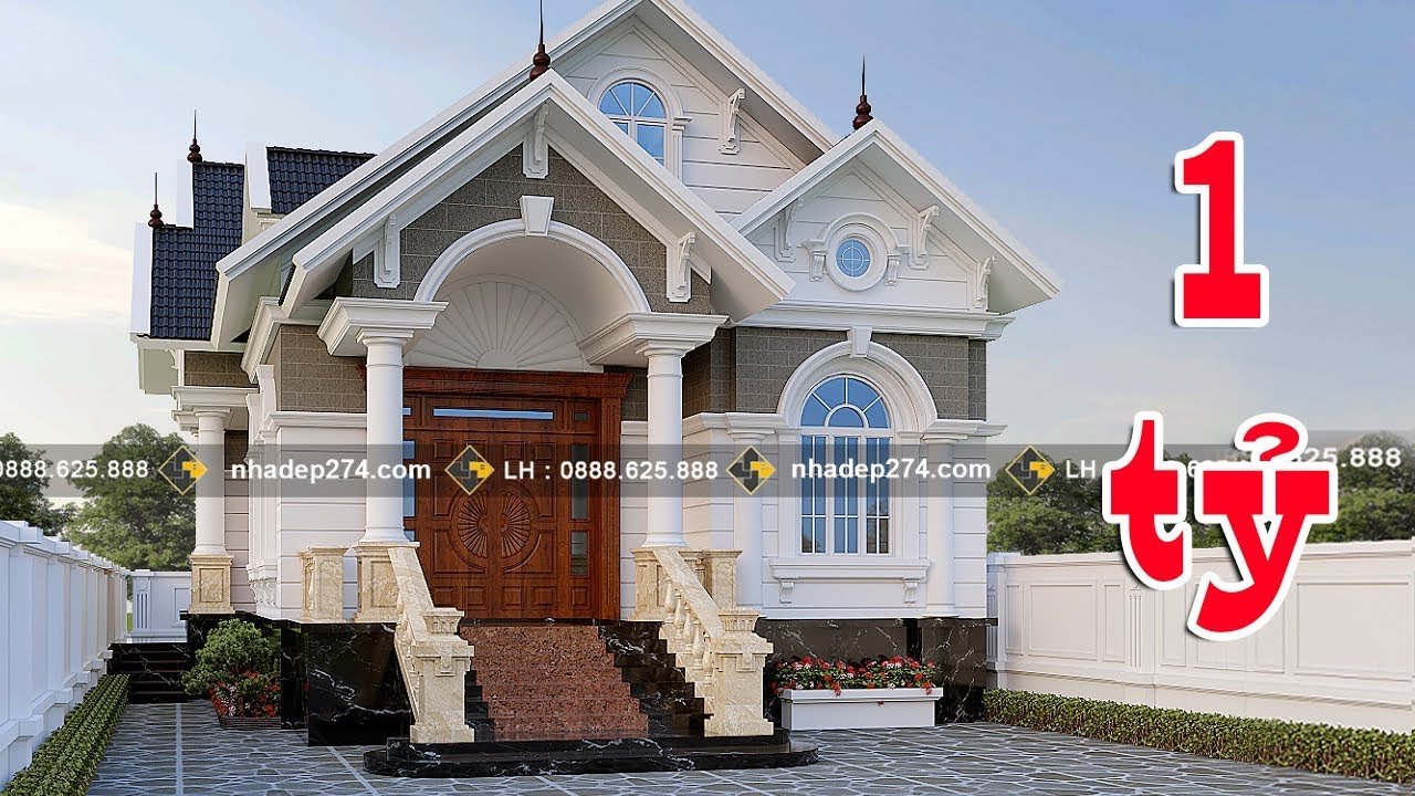 Mẫu nhà cấp 4 mái thái, kiến trúc tân cổ điển đẹp được nhiều người quan tâm.