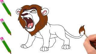 Vẽ Con Sư Tử - Tranh Tô Màu Cho Bé - Chủ Đề Các Con Vật