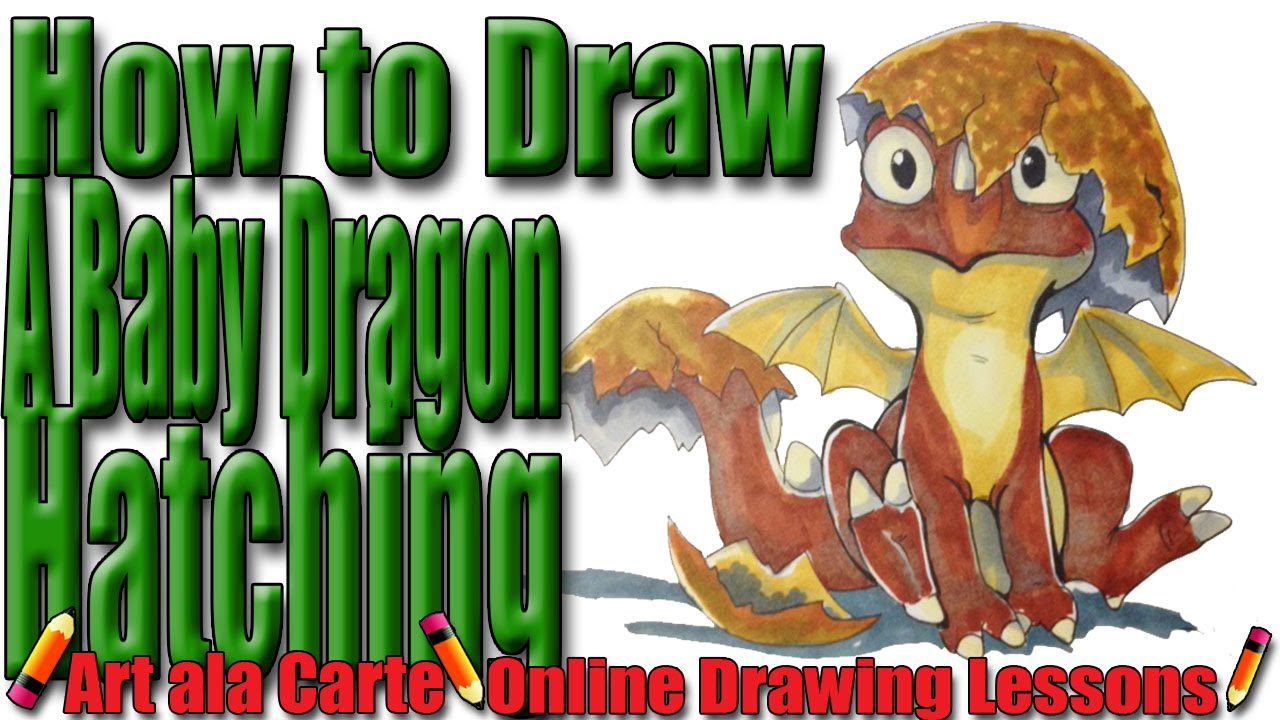 How To Draw A Baby Dragon Hatching From An Egg