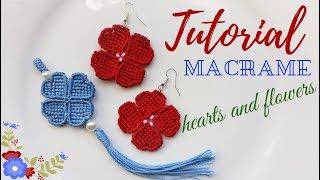 "Orecchini ""cuori e fiori"" / macrame tutorial earrings ""hearts and flowers"""