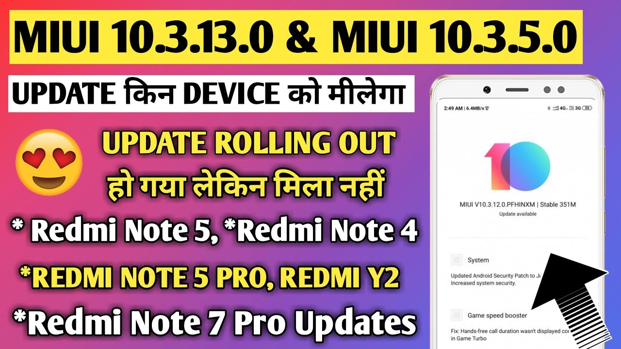 Miui 10 3 2 0 and Miui 10 3 5 0 update for redmi note 7 pro, note 5 pro,  redmi note 4, Redmi note 5