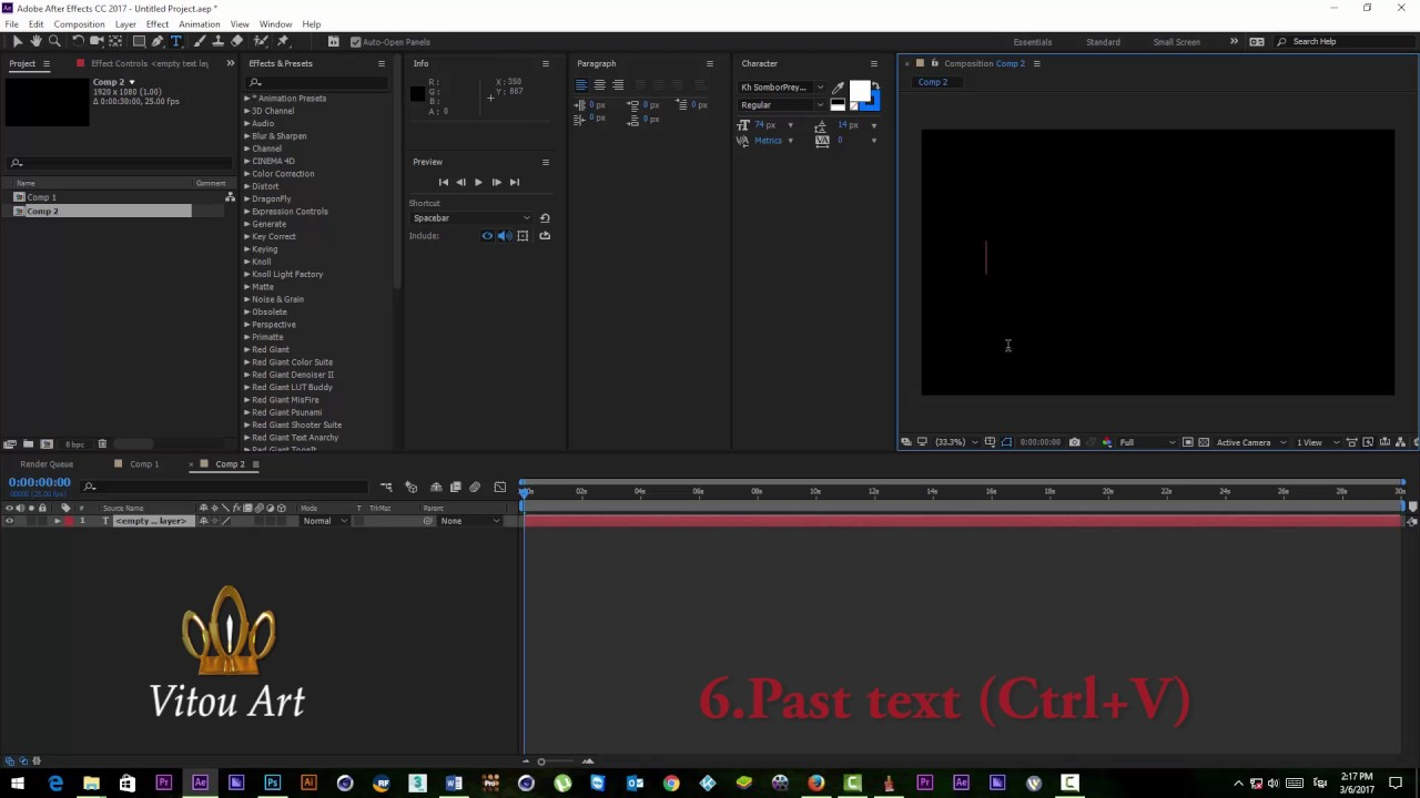 How to type khmer unicode in Adobe After Effect cc 2017 by Vitou Art